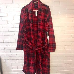 Lands End Men's Red Plaid Fleece Robe NWT